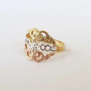 18K Gold Filled Handmade Filigree 3Tone Gold Ring